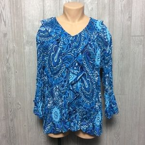 Beautiful Blue Printed Blouse PLUS SIZE
